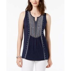 Charter Club Large Embroidered Tank Top Blue NEW